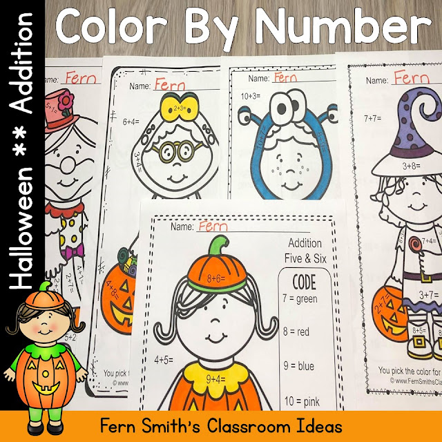 Your students will adore these FOUR Halloween Color By Number Addition worksheets while learning and reviewing important skills at the same time! You will love the no prep, print and go ease of these printables. As always, answer keys are included. FOUR No Prep Halloween Addition Printables that can be used for your math center, small group, RTI pull out, seat work or homework. Halloween Addition Facts - Color By Number Printables!