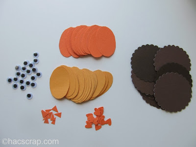 Assemble the pieces for DIY Turkey Place Cards | My Scraps
