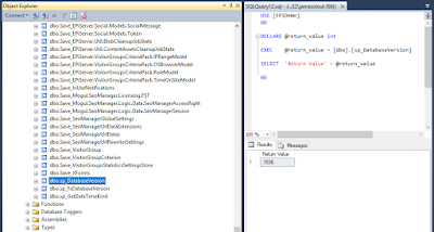 A screenshot of Sql Server Management Studio running the Database Version stored procedure.