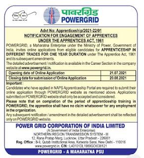 POWERGRID NR-III Recruitment 2021 96 Apprentice Posts