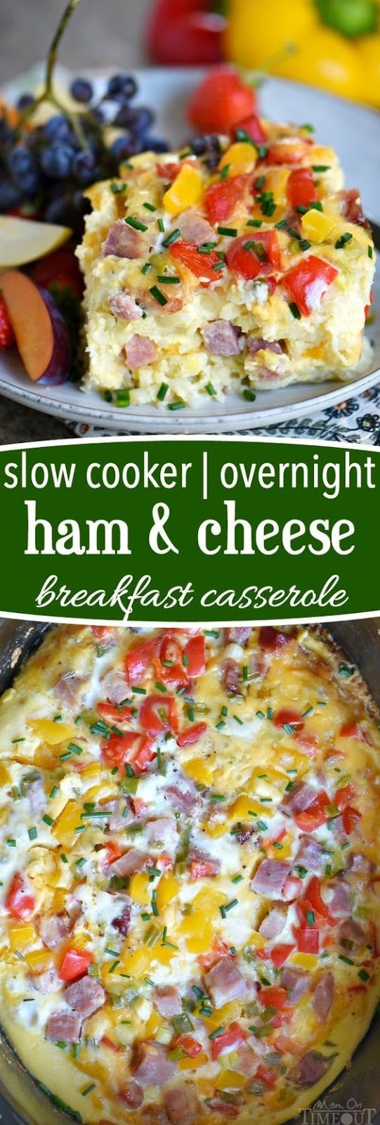 Slow Cooker Overnight Ham and Cheese Breakfast Casserole #BREAKFAST #SLOWCOOKER #AMERICAN