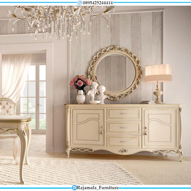 New Meja Konsul Mewah Ukiran Putih Duco Glossy Classic Jepara RM-0418