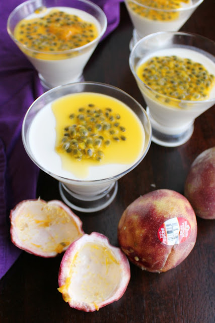 passion fruit topped yogurt panna cotta in martini glasses