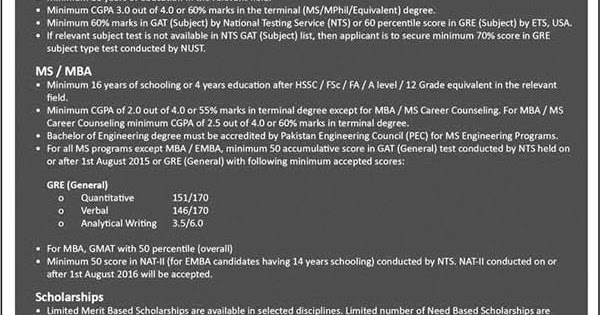 NUST Masters / PhD Admissions 2017 - Etest And Admission