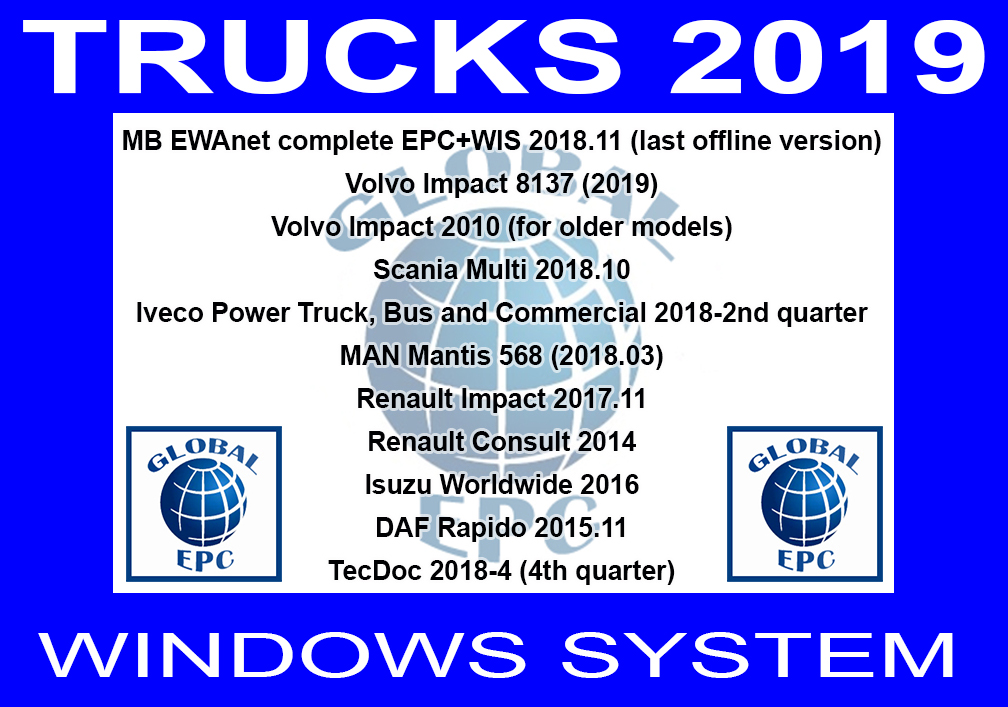 GLOBAL EPC AUTOMOTIVE SOFTWARE: TRUCKS 2019 WINDOWS 7 SYSTEM
