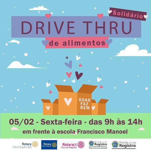 Doações de alimentos por Drive Thru