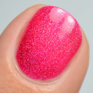 bright cherry holographic nail polish