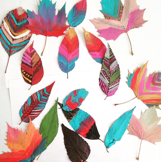 painted fall leaves- kids art project