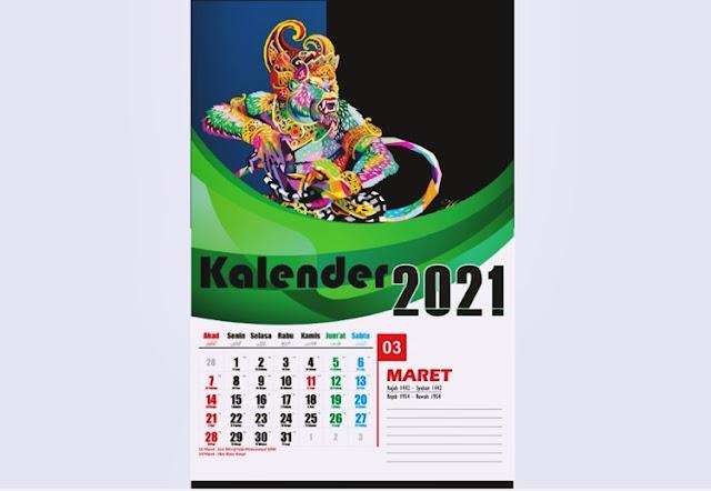 Kalender dinding 2021 Maret
