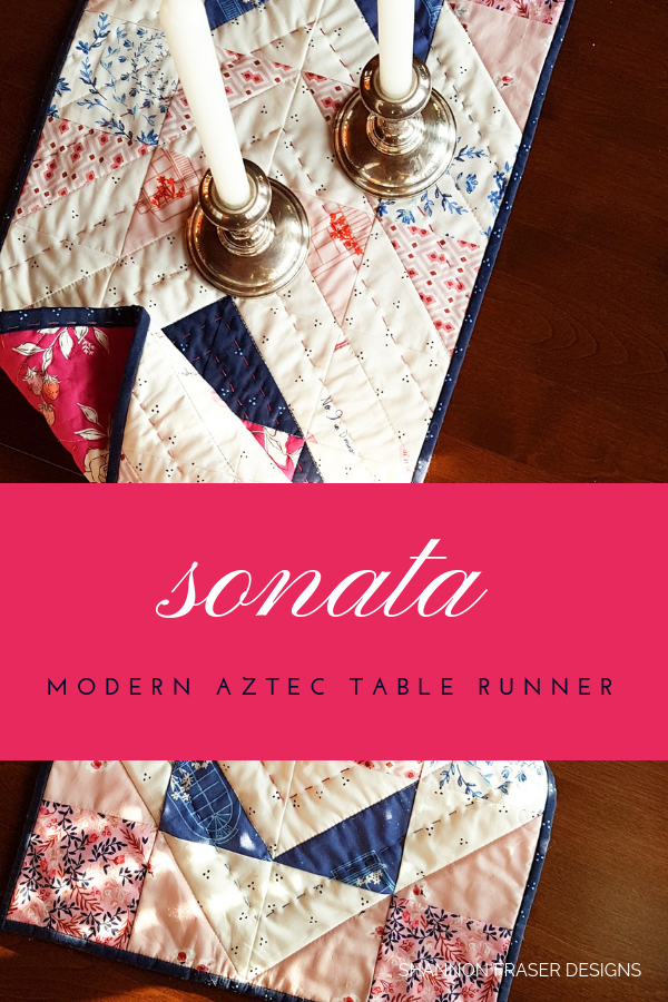 Sonata Modern Aztec Table Runner | Shannon Fraser Designs #tablerunner #handquilted #artgalleryfabrics