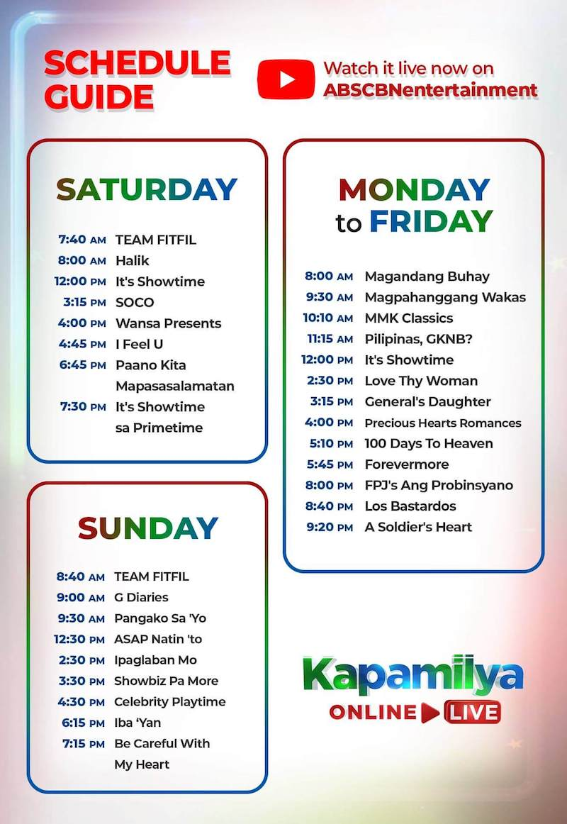 Kapamilya Online Live schedule on YouTube