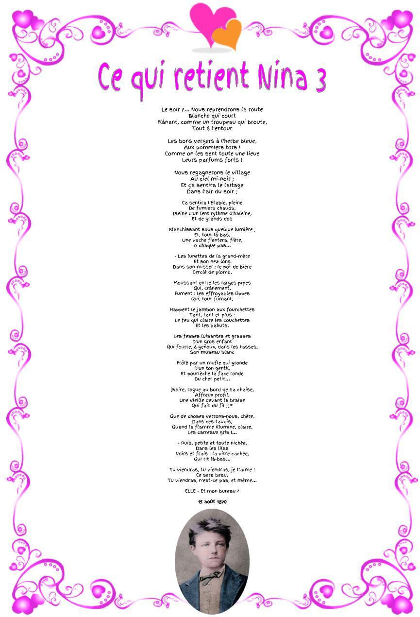 Ce qui retient Nina : Poème d'Arthur Rimbaud 3
