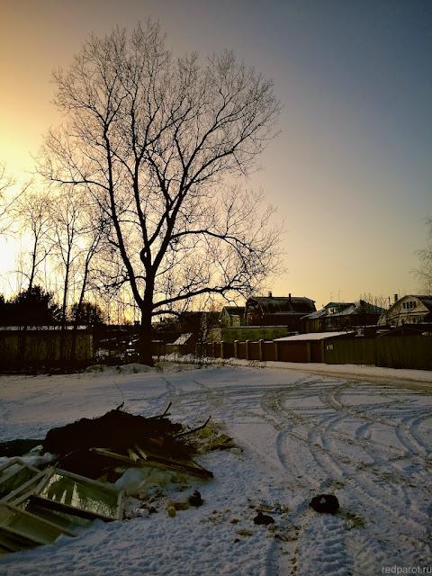 Вид в Стригино зимой. пригород