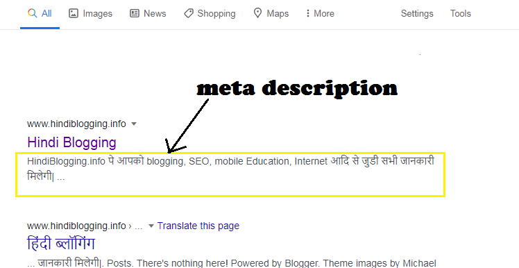 meta description kya hai blog mein