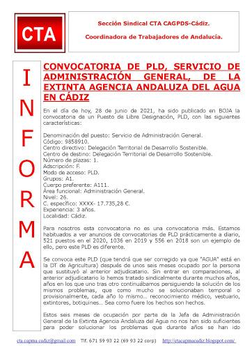 CONVOCATORIA DE PLD, SERVICIO DE ADMINISTRACIÓN GENERAL, DE LA EXTINTA AGENCIA ANDALUZA DEL AGUA EN