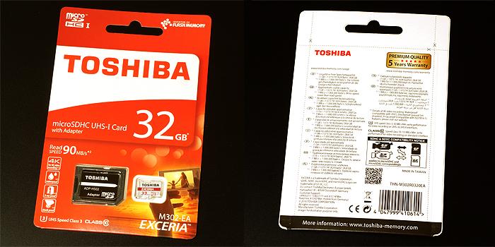 東芝 EXCERIA M302 microSDHC 32GB(THN-M302R0320EA)の製品パッケージ