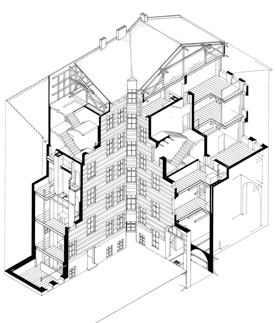 Architecture As Urban Catalyst Axonometric Section Across