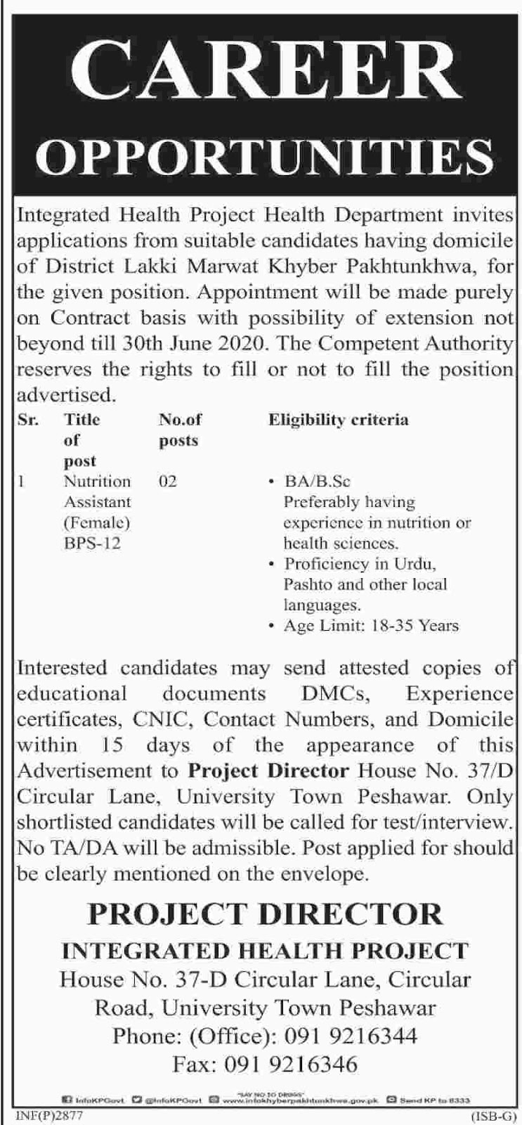 Advertisement for Health Department KPK Jobs 2019