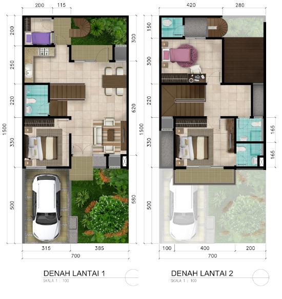 Denah rumah minimalis ukuran 7x15 meter 4 kamar tidur 2 lantai