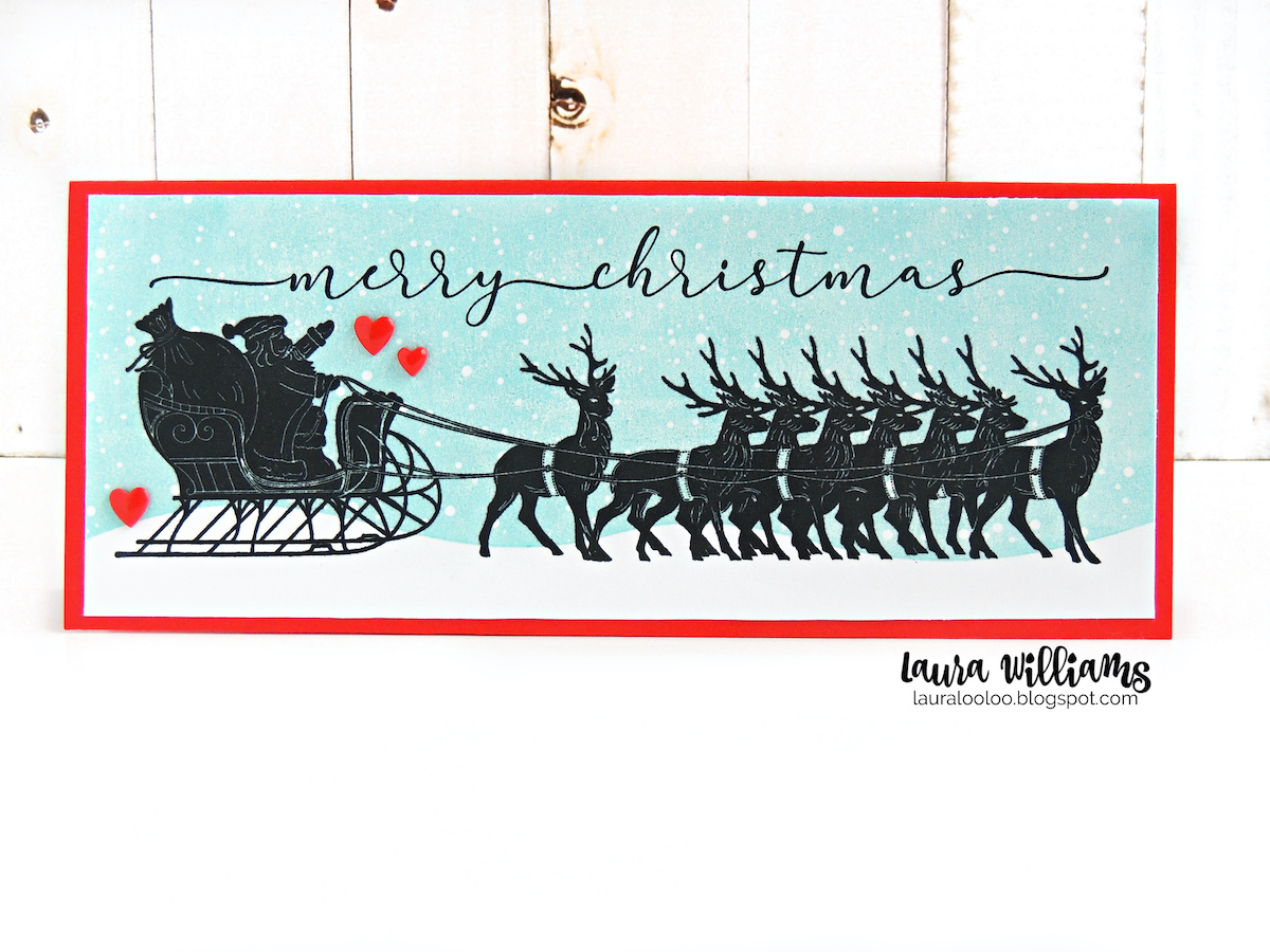 Slimline Christmas card with the Santa With Sleigh, Winter Greetings, and Snowy Night slim scenes stamps from Impression Obsession. Click to see ideas for rubber stamping on slimline holiday and winter cardmaking projects and paper crafts.