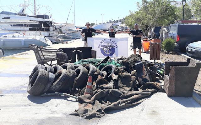 600 κιλά απορριμμάτων ανέσυραν εθελοντές δύτες από το λιμάνι του Γαλατά