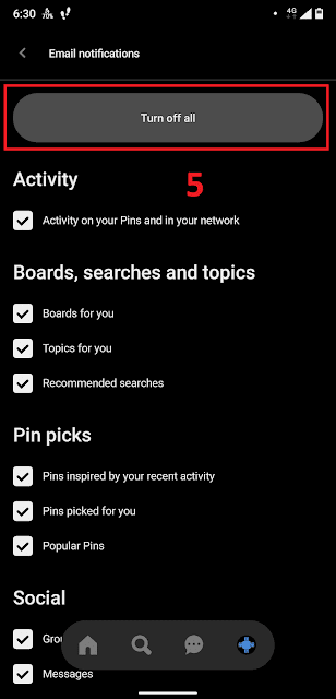 Unsubscribe or stop emails from Pinterest mobile