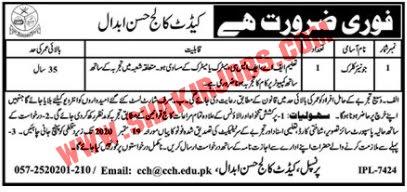 Jobs in Pakistan Army Cadet College Jobs September 2020