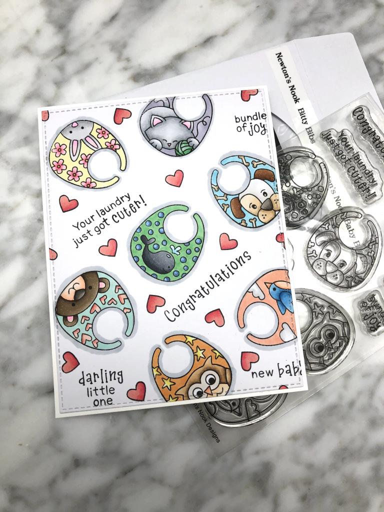 Bitty Bibs Baby Card by July Guest Designer Kay Demonbren | Baby Bibs Stamp Set by Newton's Nook Designs #newtonsnook #handmade