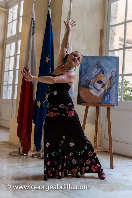 Launch of The Flamenco Fanatic ,Malta 28 July 2014, with Alegria Dance Company, Ms Tanya Bayona and Rosana Maya, address by Dr Francis Zammit Dimech. Book production sponsored by C