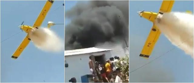 Vídeo mostra momento em que avião ajuda a evitar que casa seja atingida por fogo em Morpará