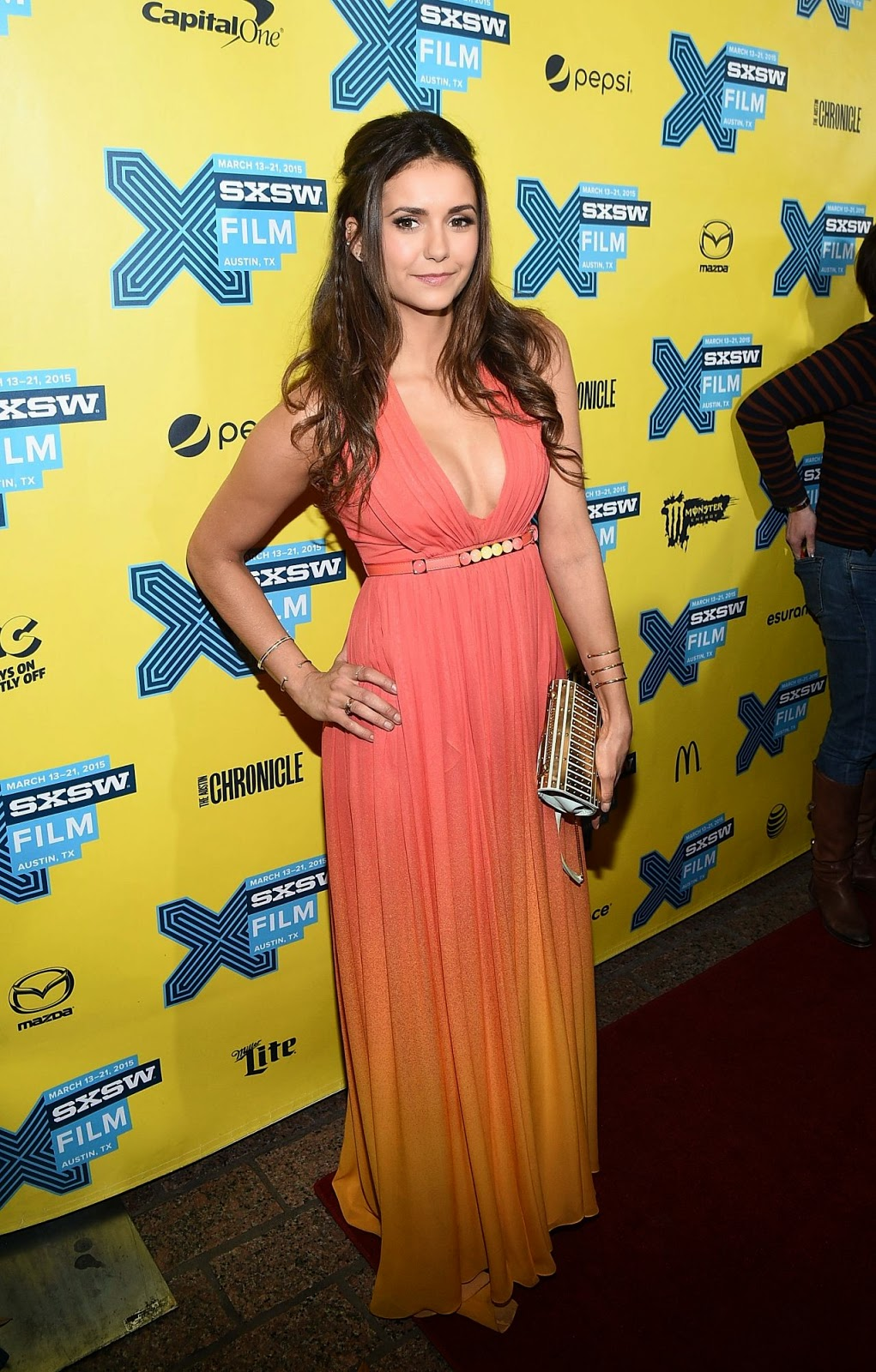 Nina Dobrev flashes cleavage in a plunging gown at 'The Final Girls' premiere at SXSW in Austin