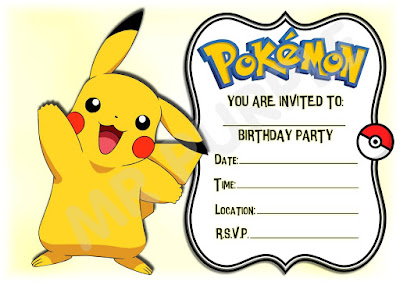 Pokemon Birthday Invitations Free