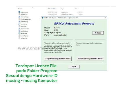 resetter epson l3110 plus lisensi dan hardware id