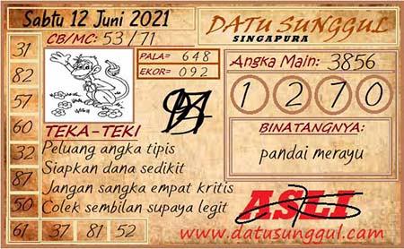 Prediksi Datu Sunggul SGP Sabtu 12 Juni 2021