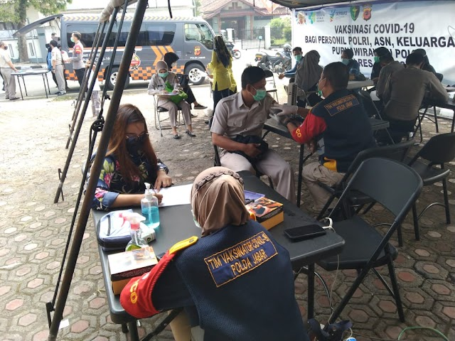 Urkes Bag Sumda Polres Ciamis Gelar Vaksinasi kepada anggota Polri ,ASN PHL, serta keluarga purnawirawan