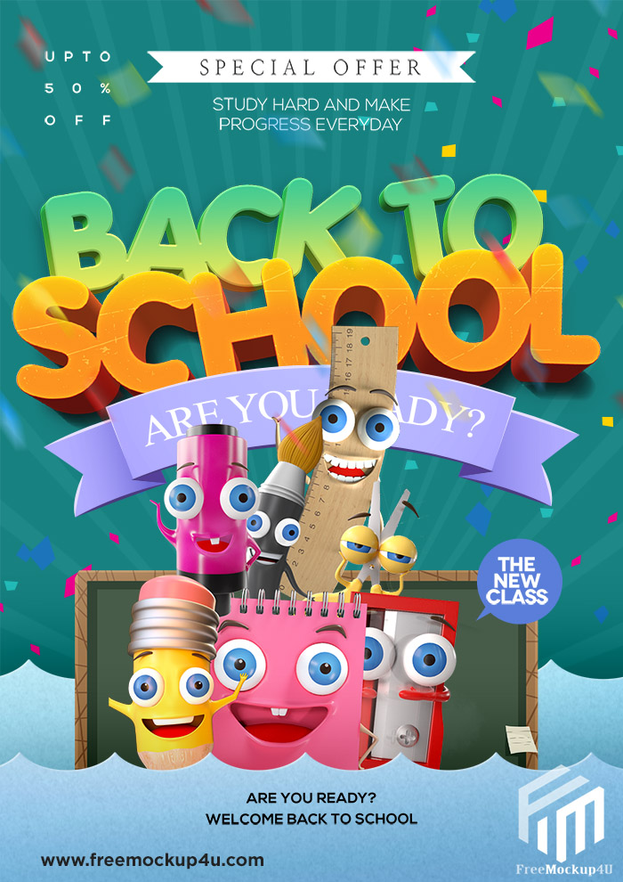 Cartoon Fashion Cute Back To School Promotion Poster