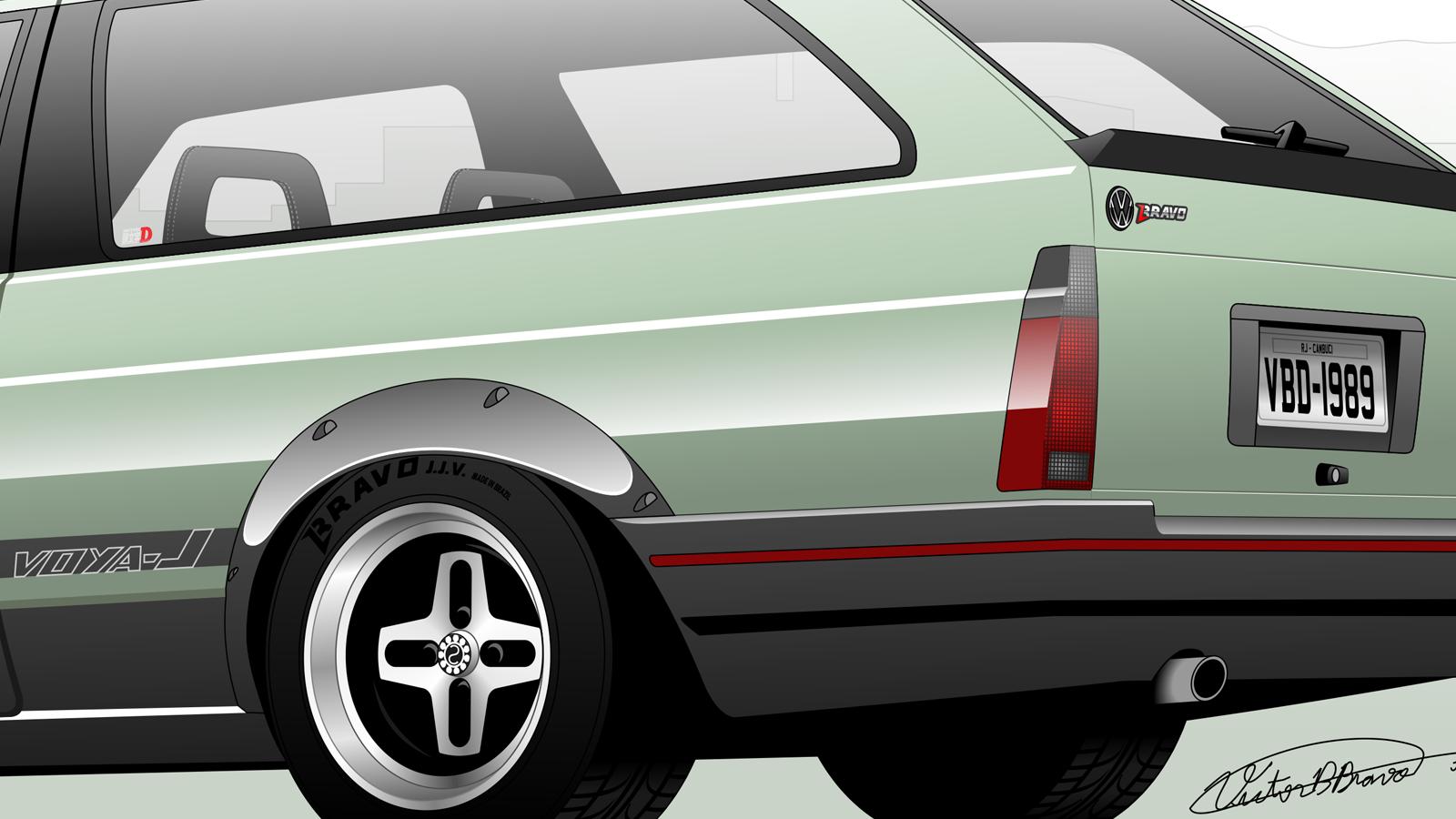 """Imagem mostrando o detalhe traseiro do Volkswagen Parati """"Voya-J Wagon"""""""