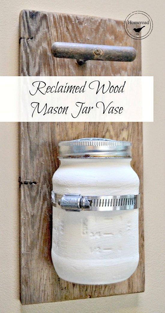 Reclaimed Wood Hanging Mason Jar Vase