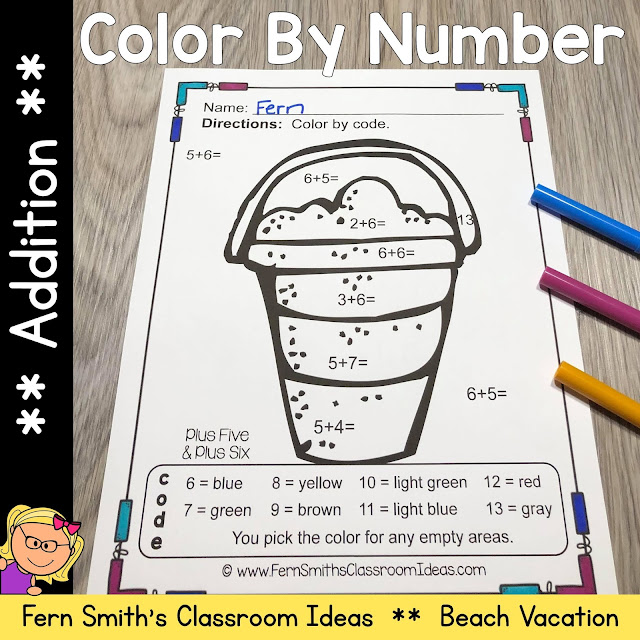 Click Here for the Color By Number Addition Beach Vacation Fun Printable Worksheets Resource