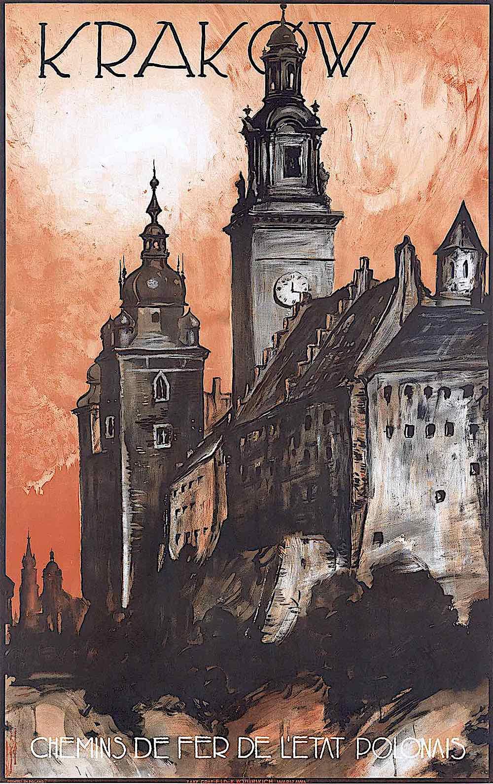 a Stefan Norblin 1935 travel poster for Krakow