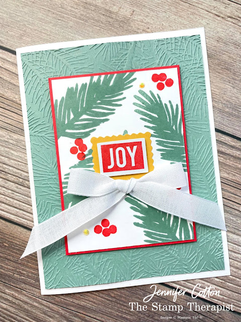 Stampin' Up!'s Love, Santa Tag Kit used to make this card!  Add the Wintry embossing folder, Poppy Parade & Soft Succulent ink pads, and Flowers for Every Season Ribbon (plus cardstock)!  #StampinUp #StampTherapist #LoveSanta