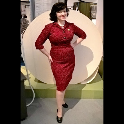 outfit vintage red corduroy late 50s pencil dress 40s black leather heels shoes