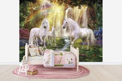 tapet enhörningar fototapet unicorn regnbåge tjejtapet ungdomsrum