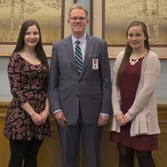 Superintendent Stephen Dockray met with Class of 2017 Valedictorian Samantha Frey (left) and Class of 2017 Salutatorian Kathleen Loonie (right) on to commend them for their commitment to scholastic excellence. (Photo courtesy of Tri-County)