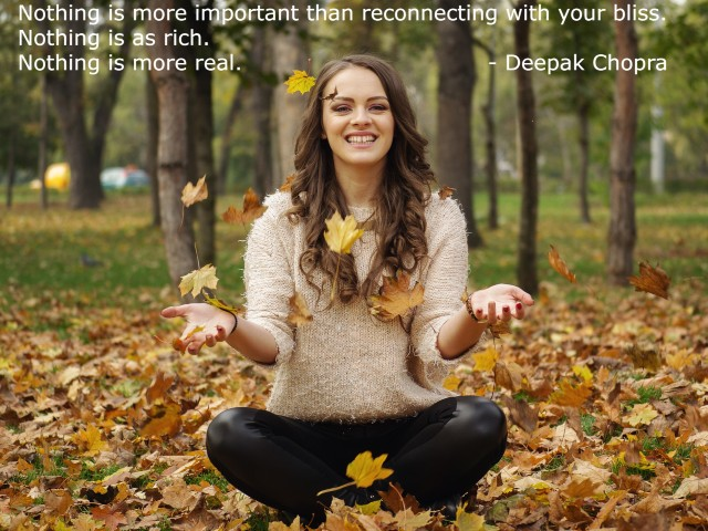 """Bliss is """"A perfect state of happiness"""".Deepak Chopra Quoted - """"Nothing is more important than reconnecting with your bliss.Nothing is as rich. Nothing is more real."""""""