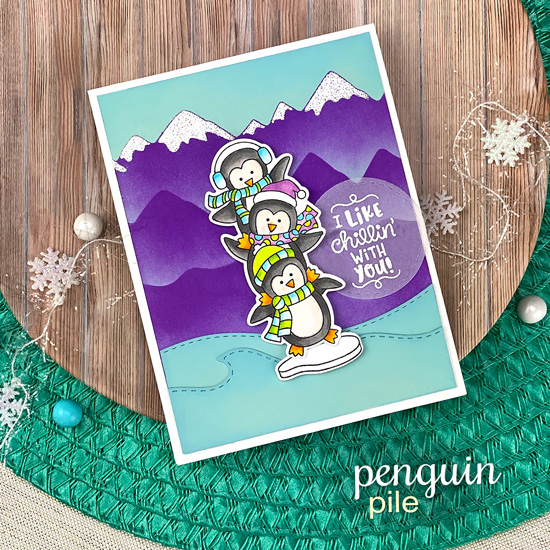 Penguin Card by Jennifer Jackson | Penguin Pile Stamp Set, Penguin Piles Die Set and Mountains Stencil by Newton's Nook Designs #newtonsnook #handmade