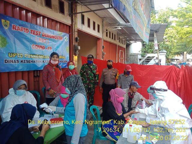 Kodim Sragen - Rapid Test Sasar Pedagang & Pengunjung Pasar di Kebonromo