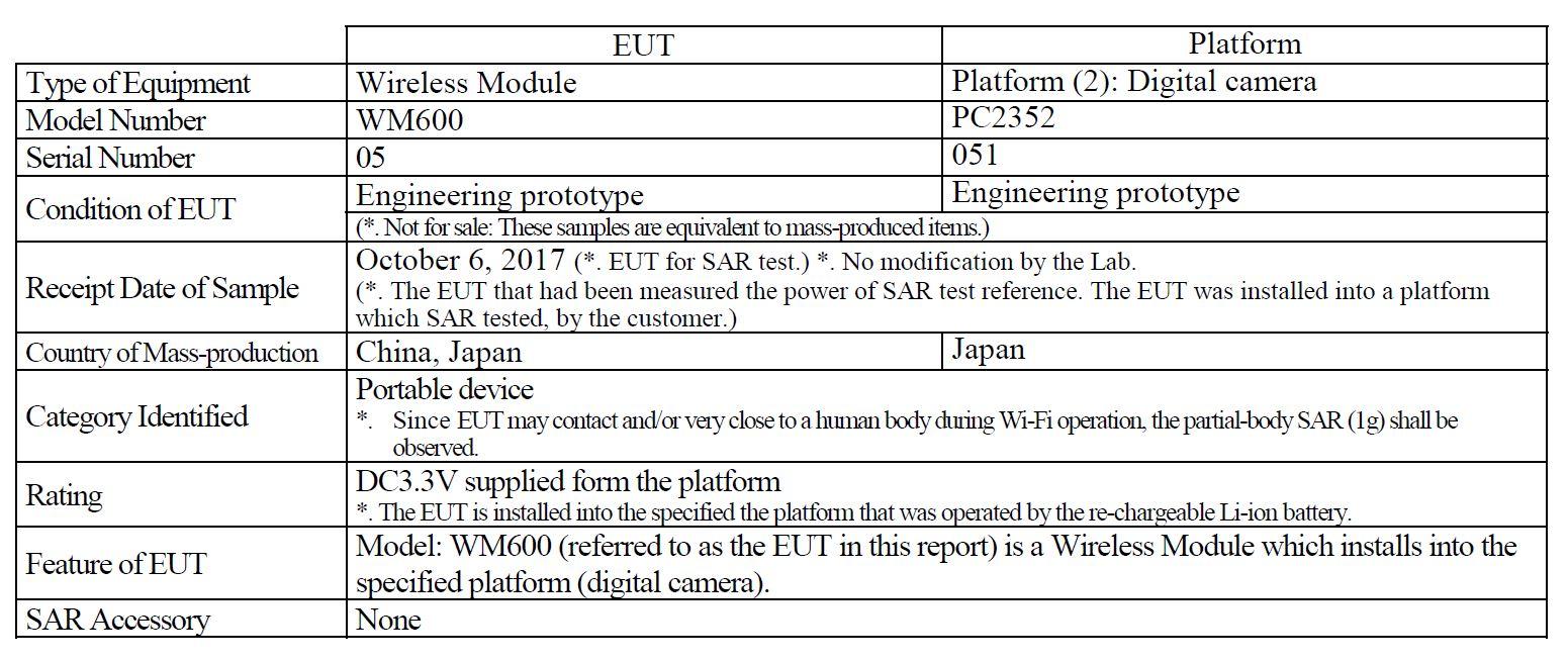 Регистрационные данные камеры PC2352