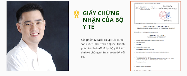 giay chung nhan bo y te tinh chat miracle ex spicule