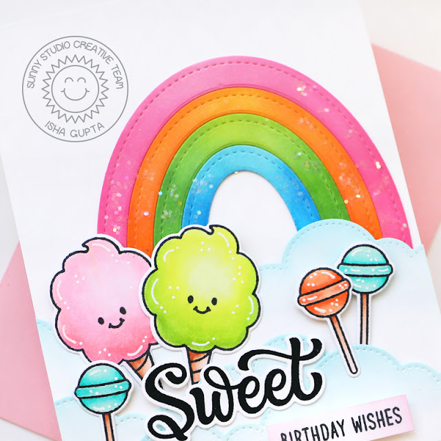 Sunny Studio Stamps: Stitched Oval Dies Slimline Dies Candy Shoppe Birthday Card by Isha Gupta